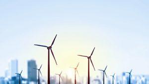 Windmills providing alternate energy for data centers.