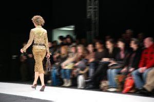 Fashion model on catwalk.